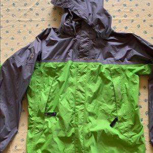 Lime green and gray marmot boys medium raincoat